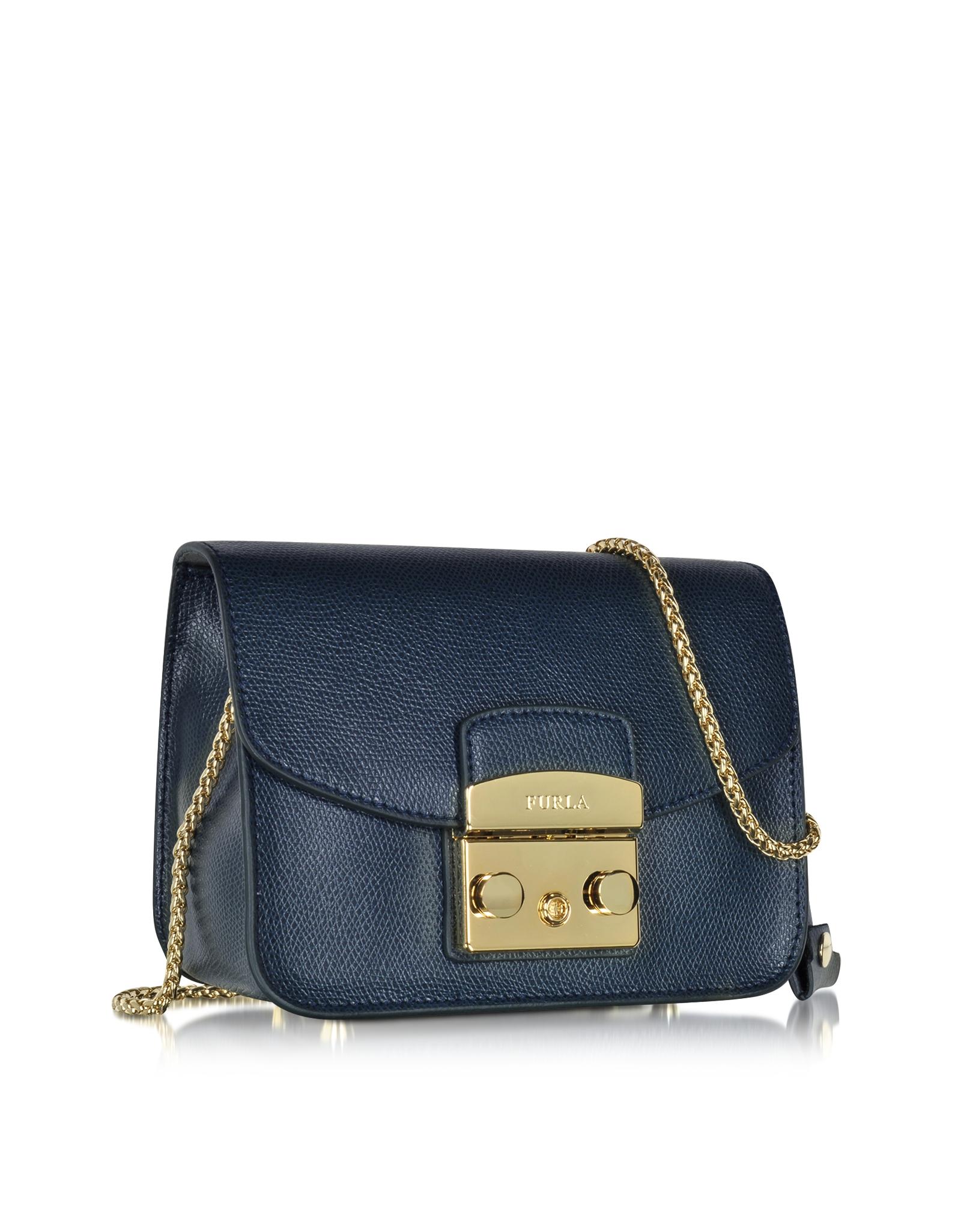 255e64624c Lyst - Furla Metropolis Navy Leather Shoulder Bag in Blue