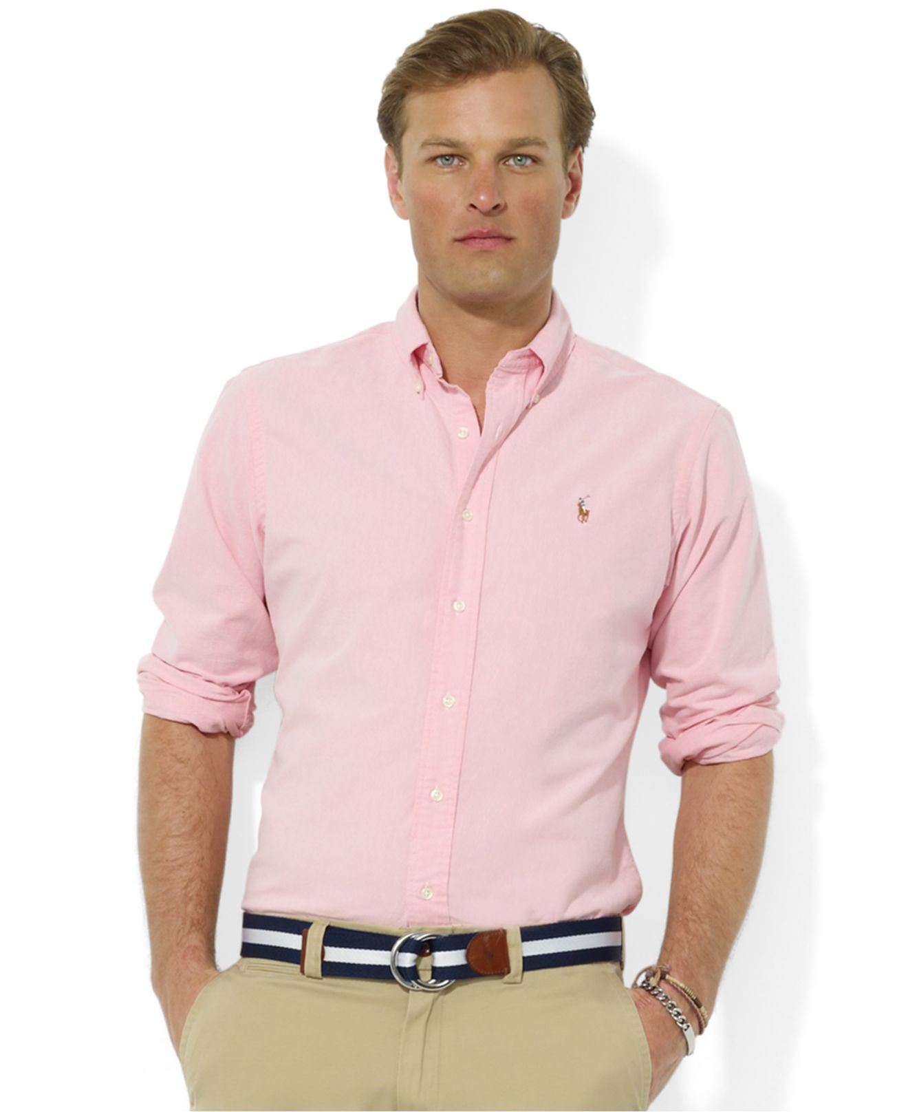204a21ff ... australia lyst polo ralph lauren core classic fit oxford shirt in pink  for men c81ce 39176
