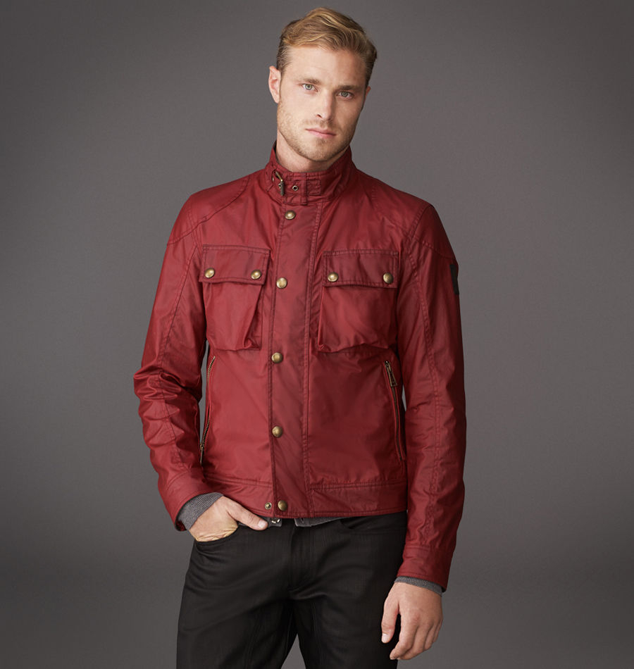 Belstaff Red Leather Bomber Jacket