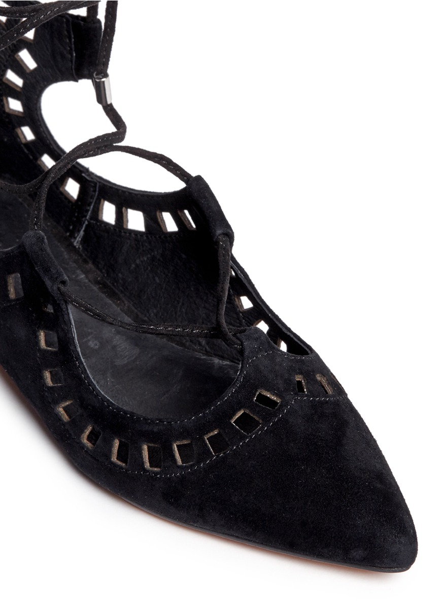 windsor smith 'sunset' perforated suede lace-up flats in black | lyst