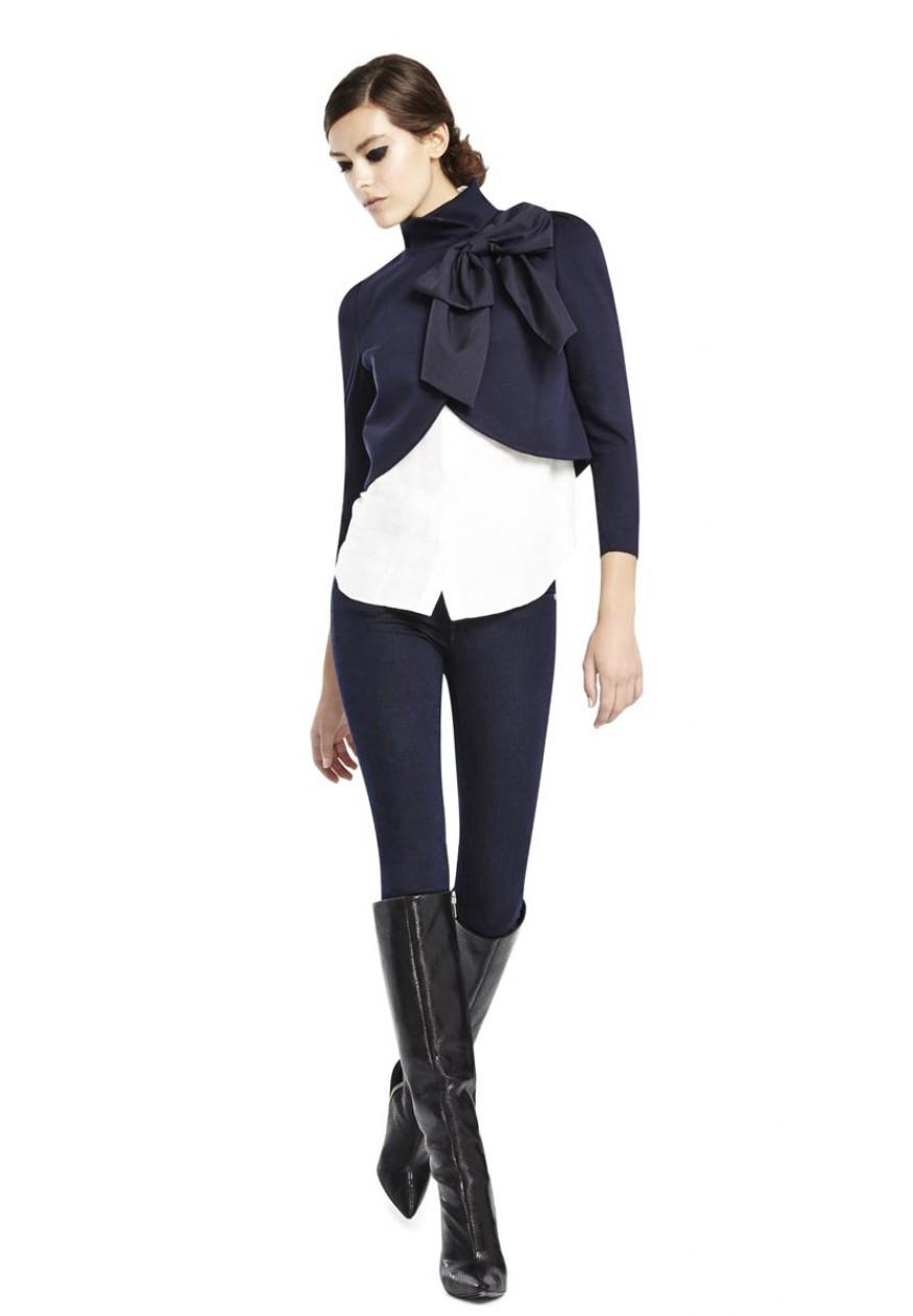 Alice Olivia Addison Bow Collar Crop Jacket In Blue