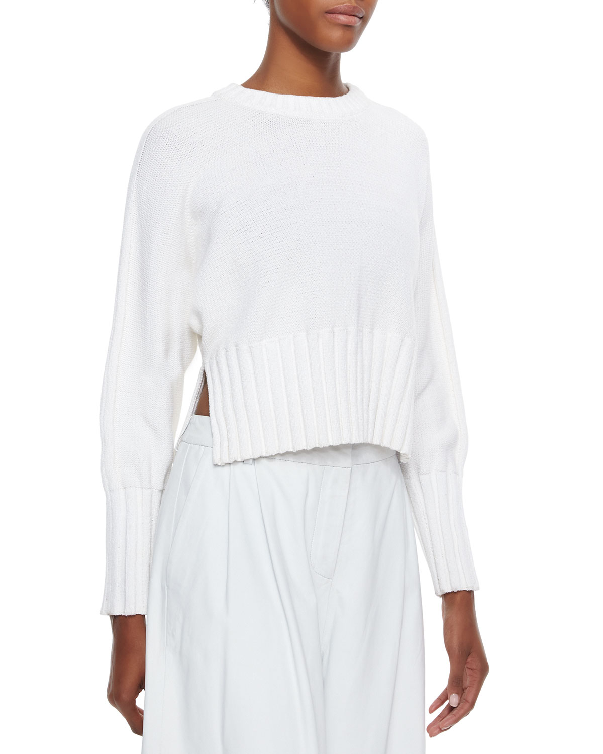 62b47c873e Lyst - T By Alexander Wang Chunky Knit Cropped Pullover Sweater in White