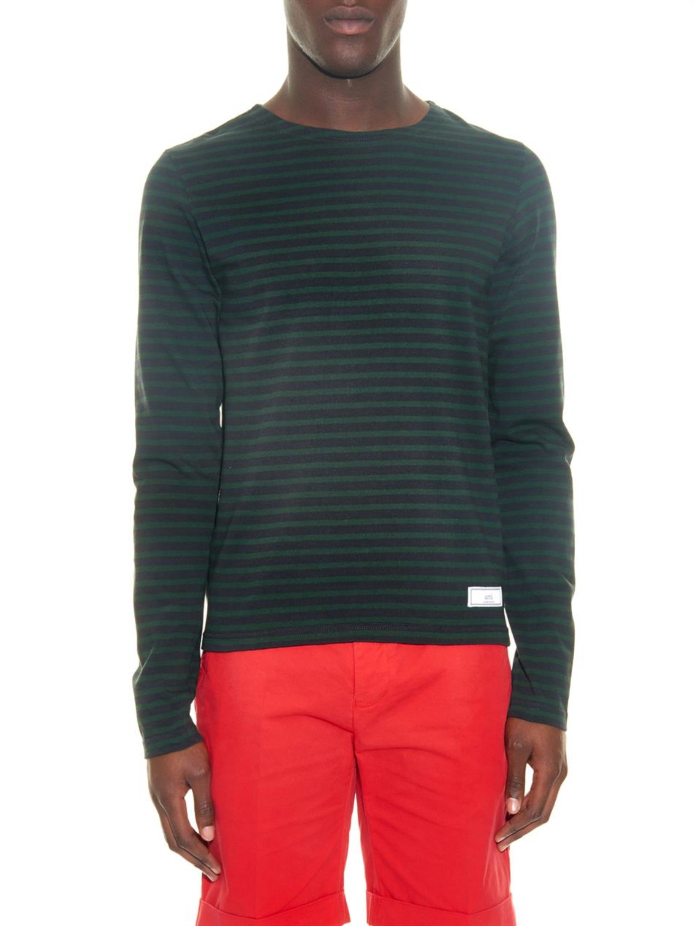 Lyst ami striped long sleeved t shirt for men for Mens striped long sleeve t shirt