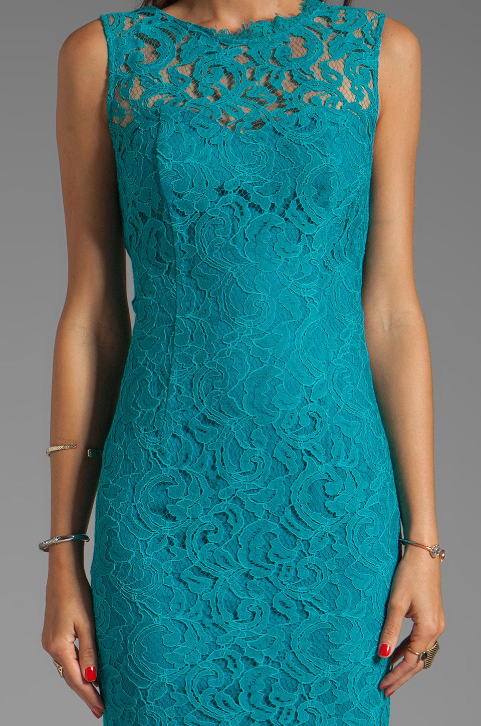 Lyst Dolce Vita Tamia Teal Lace Tank Dress In Teal In Blue