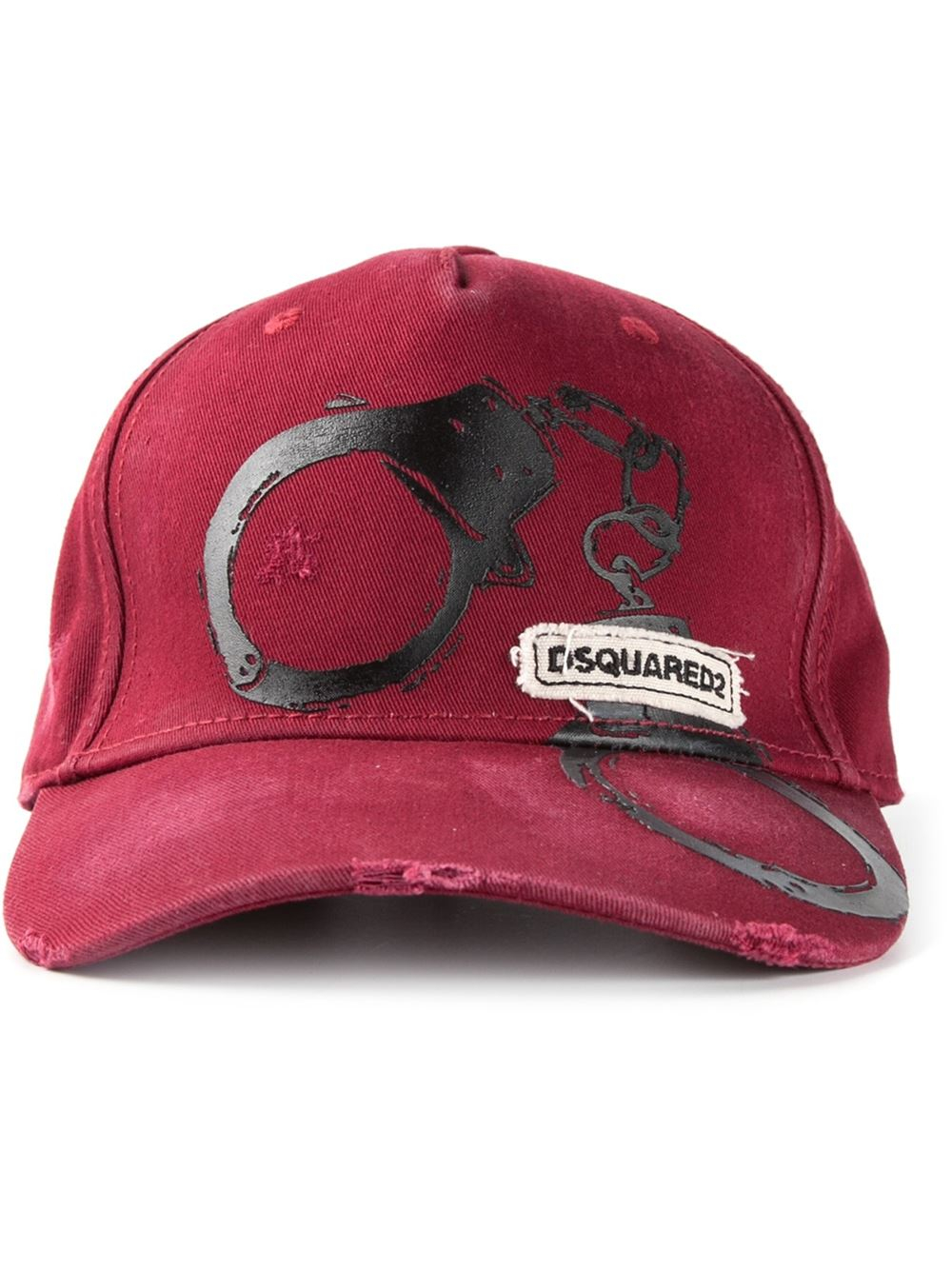 78ab99a77eb Lyst - Dsquared² Distressed Cap in Red for Men
