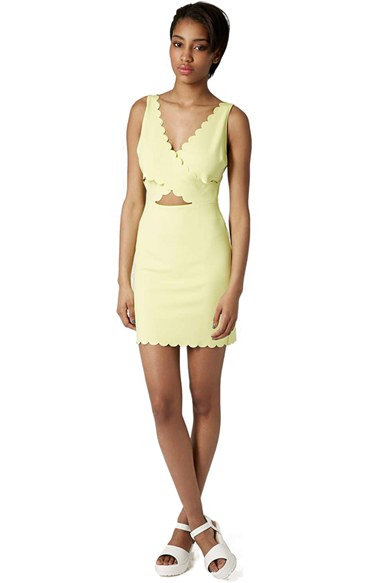 Scalloped dress yellow
