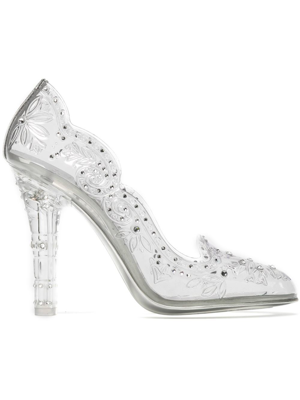Lyst Dolce Amp Gabbana Embellished Clear Pumps In White