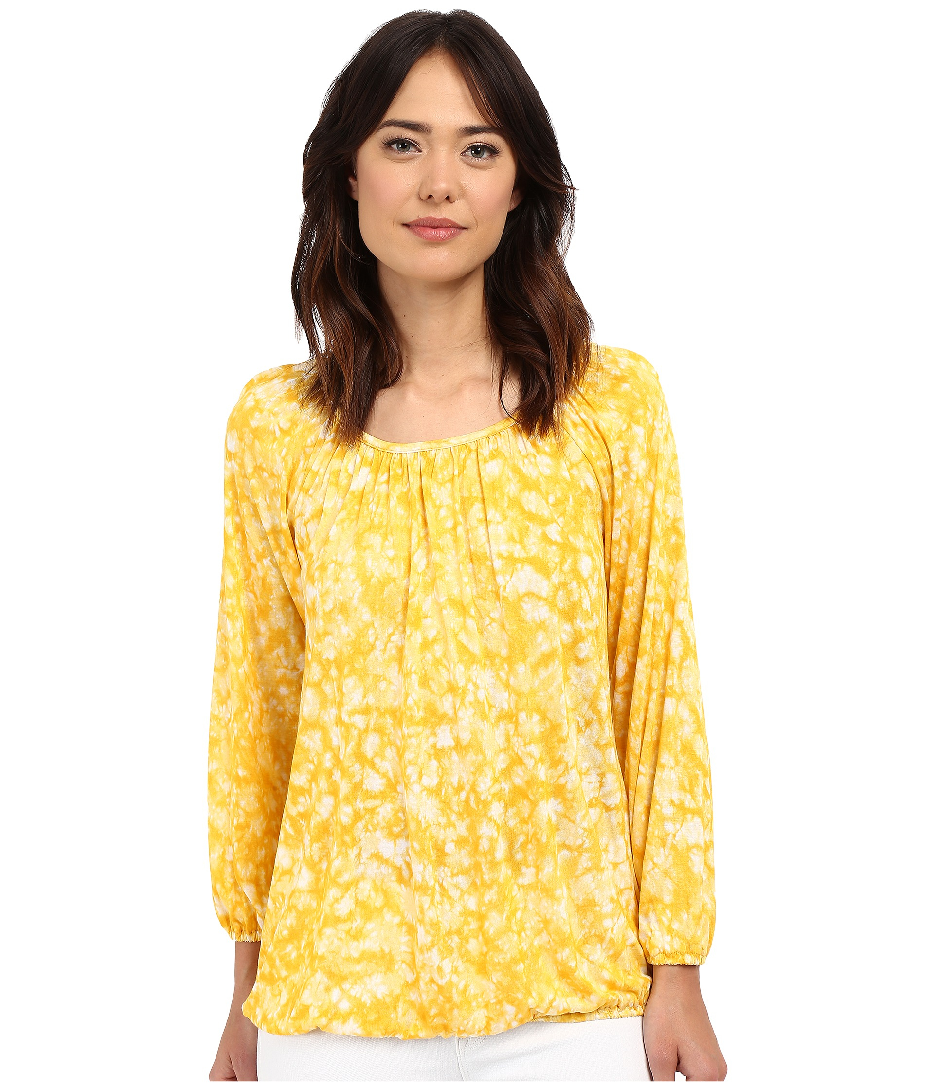 6a3fd73526f Lyst - MICHAEL Michael Kors Edgewater Peasant Top in Yellow