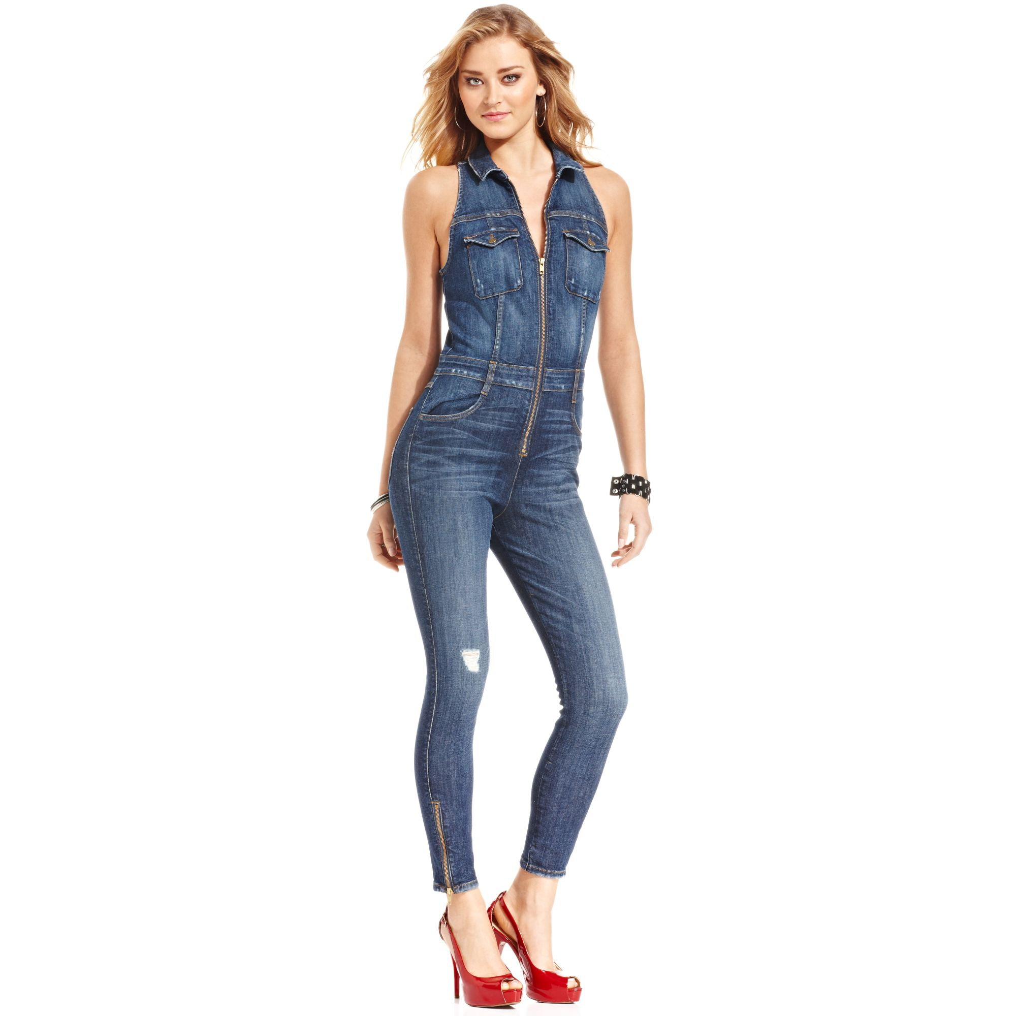 a9435402333c Lyst - Guess Cara Denim Jumpsuit in Blue