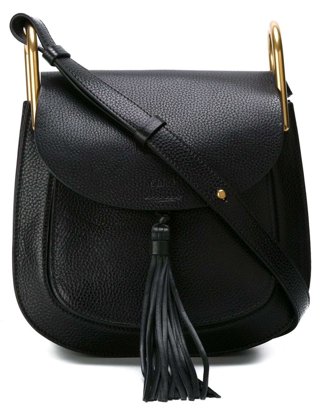 chlo hudson leather shoulder bag in black lyst. Black Bedroom Furniture Sets. Home Design Ideas