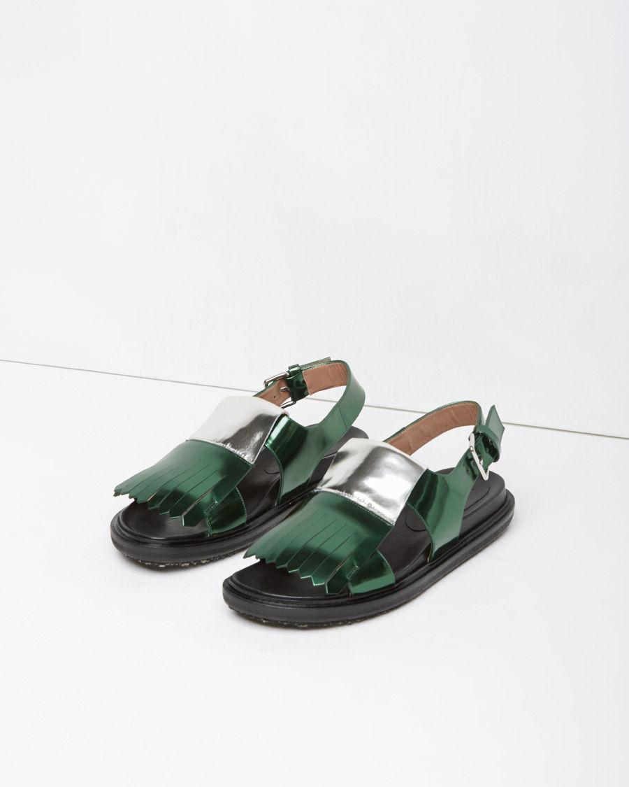 Marni Fussbett Two Toned Kiltie Leather Sandals In Green