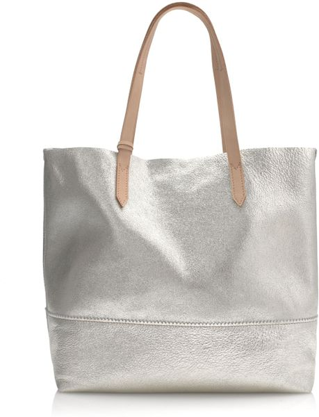 J.crew Downing Tote in Metallic Leather in Gold (pale gold sandstone)