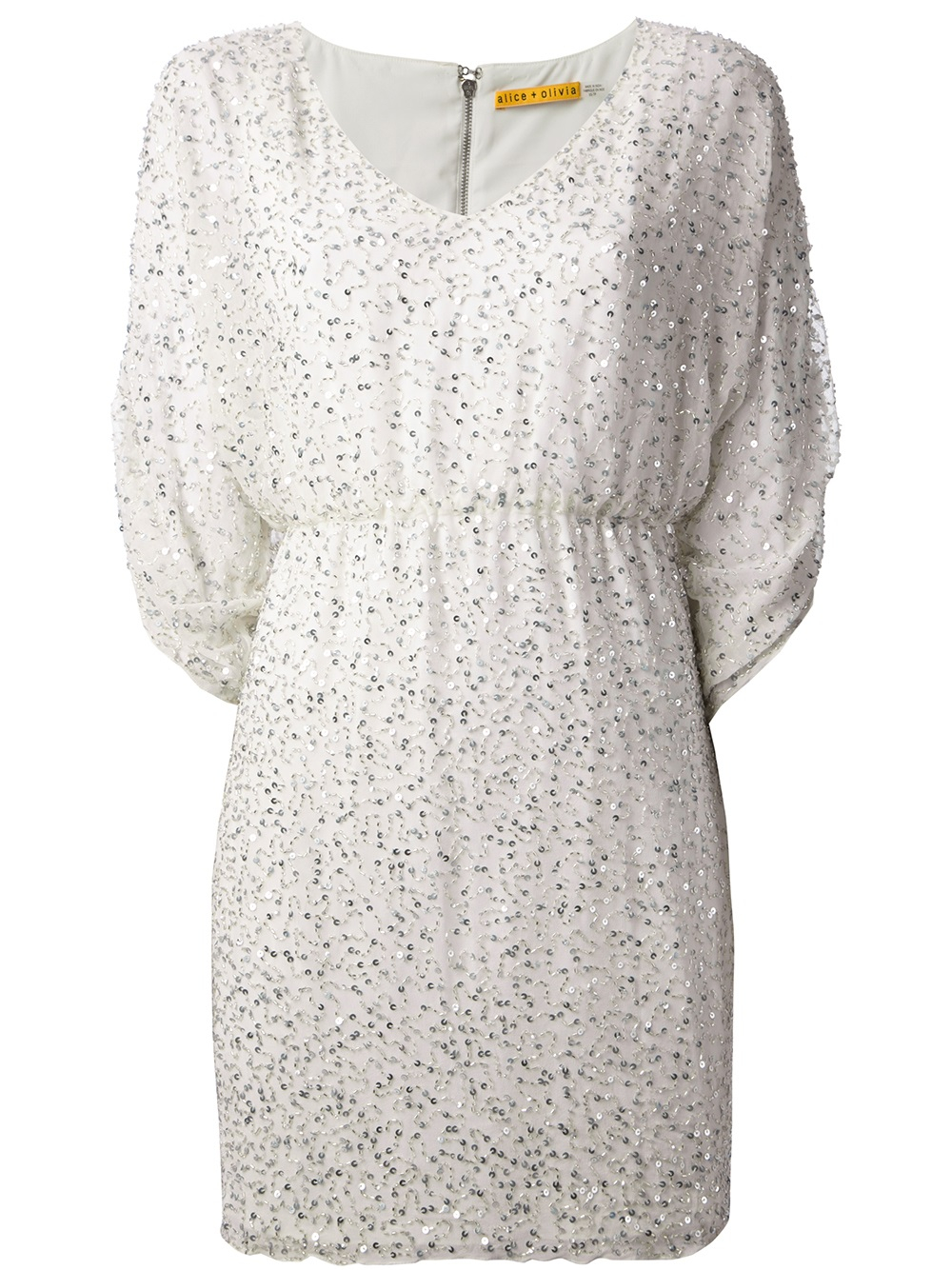 Alice Olivia Silver Tone Sequin Dress In White Lyst