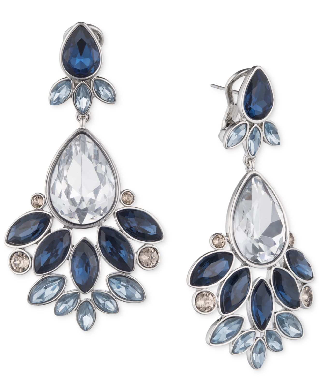 Red Givenchy Chandelier Earrings: Givenchy Silver-tone Crystal Blue Chandelier Earrings In