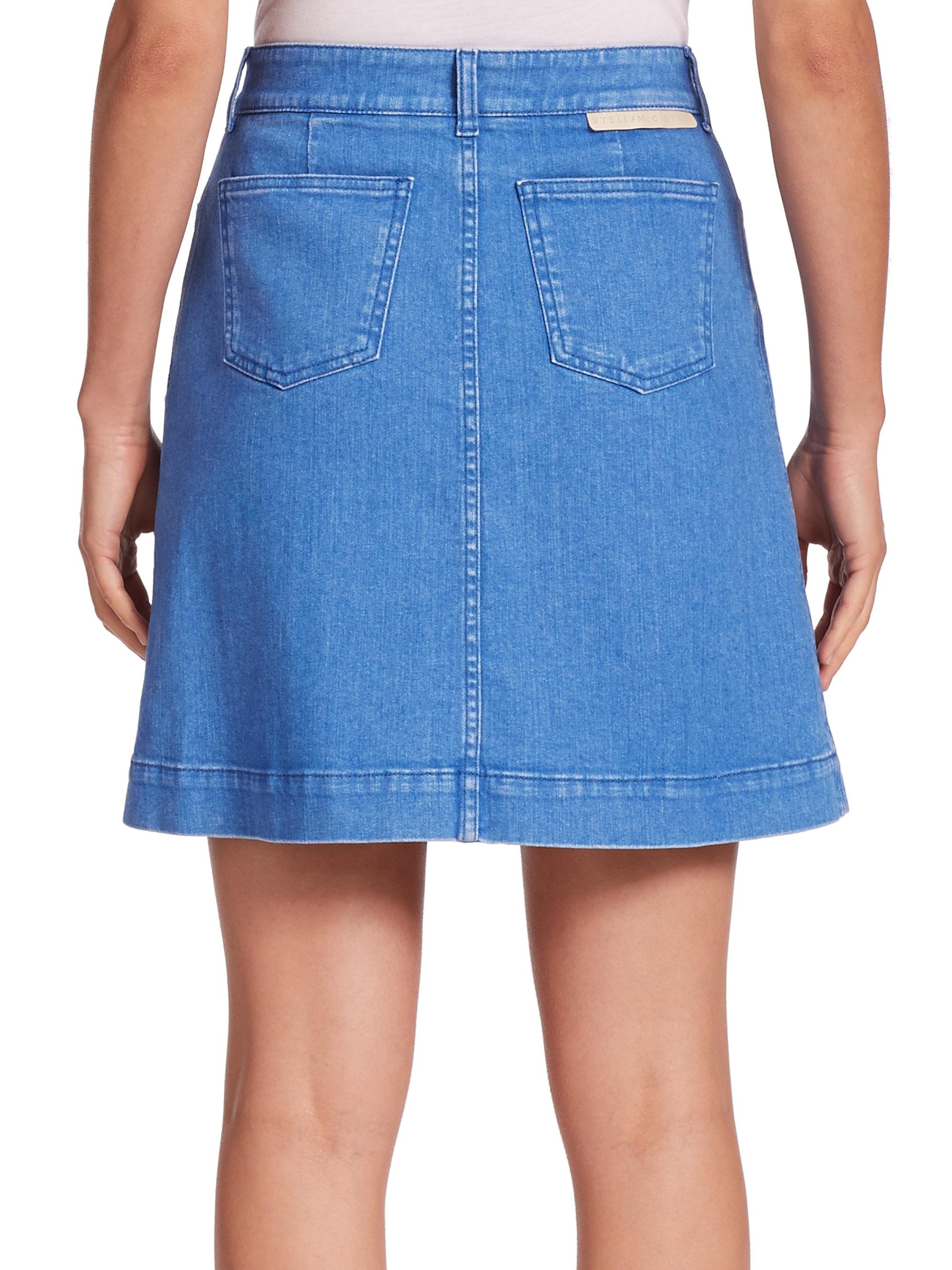 stella mccartney button front a line denim skirt in blue