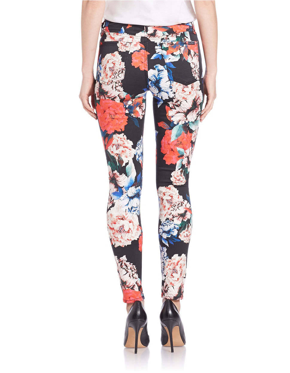 7 for all mankind Floral Print Skinny Jeans | Lyst