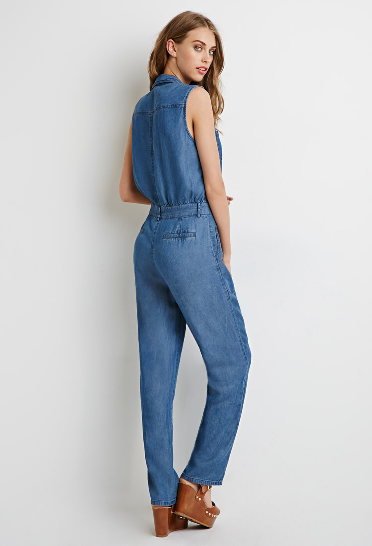 Lyst Forever 21 Button Down Denim Jumpsuit In Blue