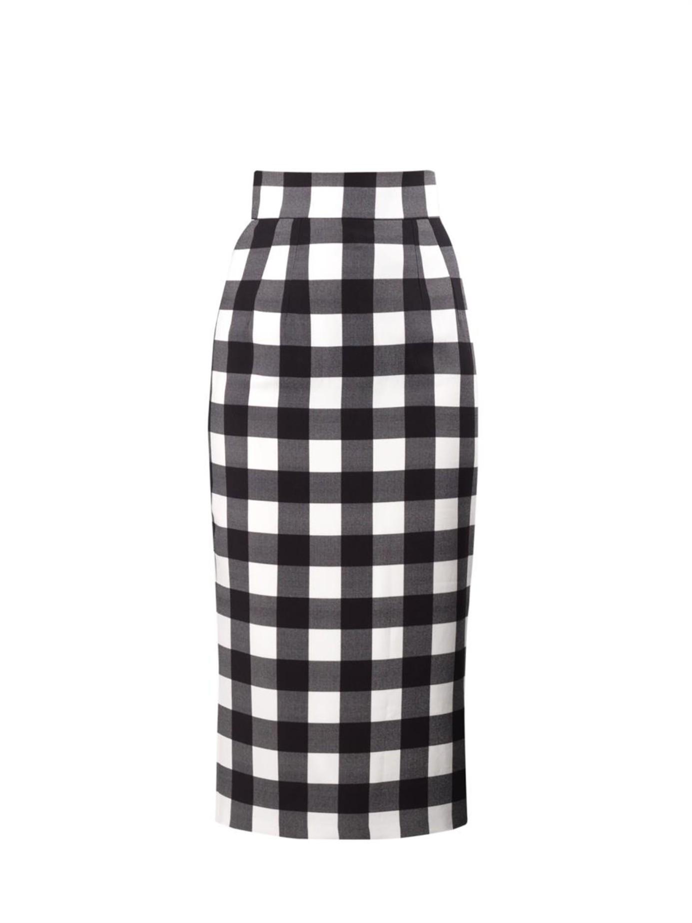c34471c44 Dolce & Gabbana Vichy Gingham Pencil Skirt in Black - Lyst