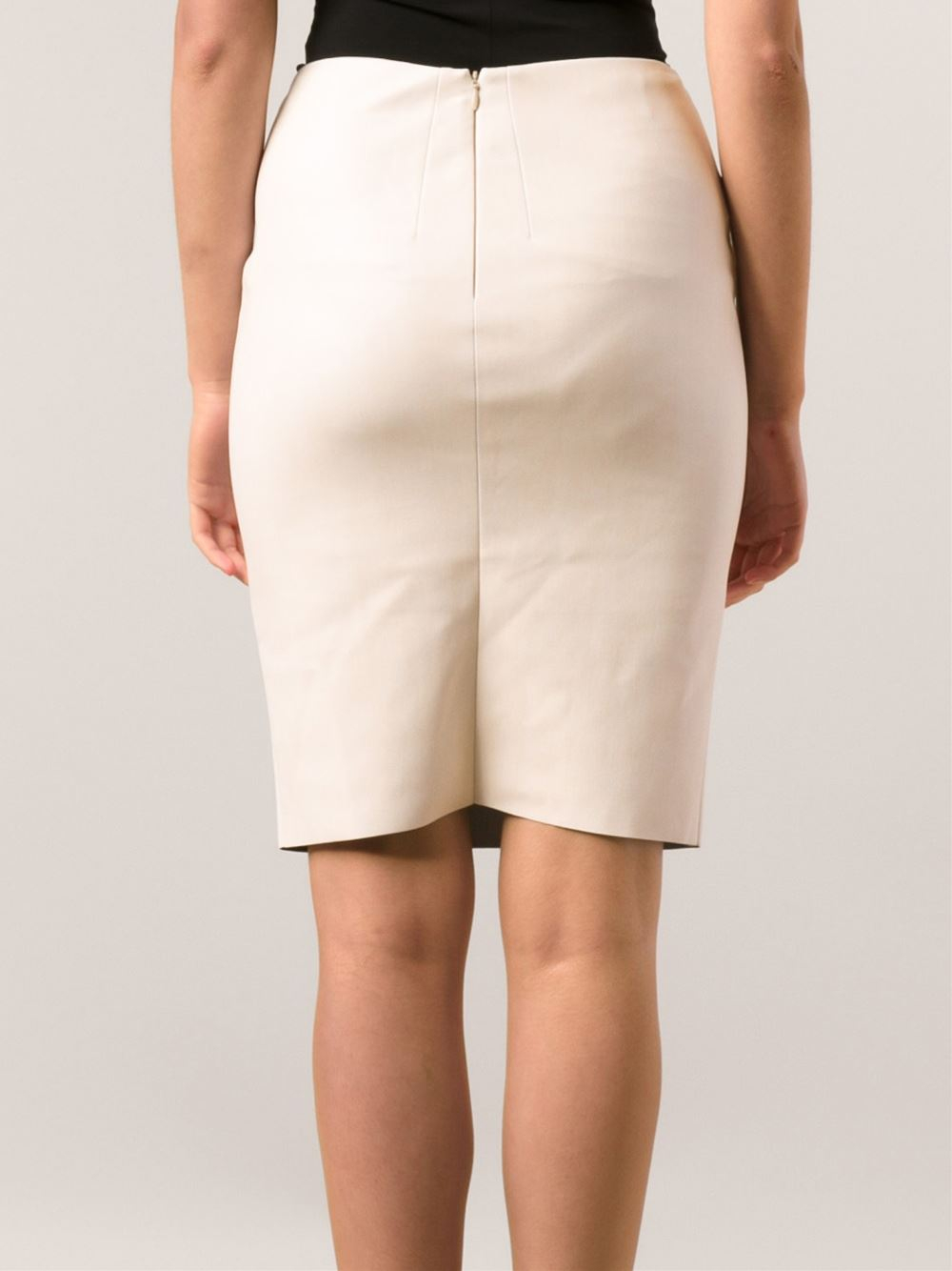Cedric charlier Faux Leather Pencil Skirt in Natural | Lyst