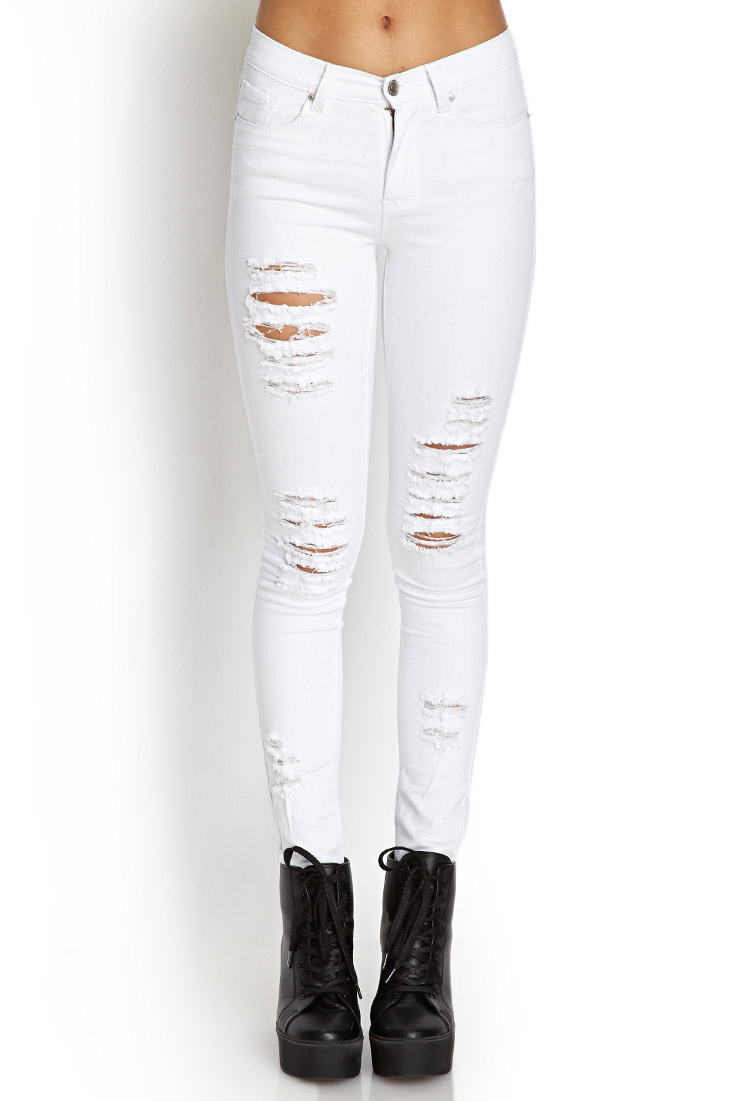 Gallery - Forever 21 Distressed Skinny Jeans In White Lyst