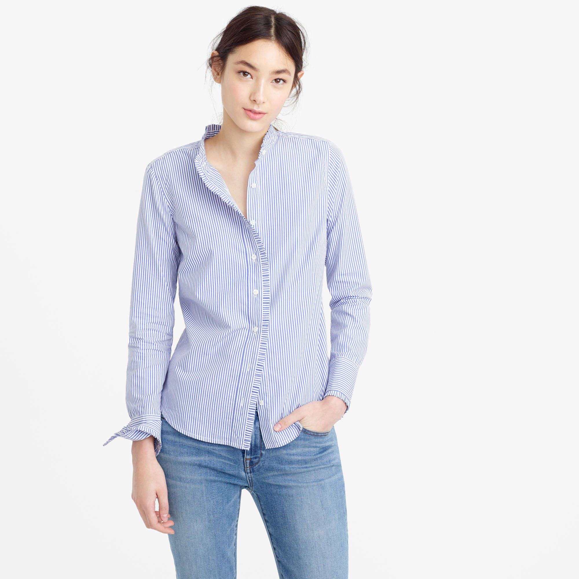 Lyst J Crew Petite Ruffled Button Up Shirt In Stripe In Blue