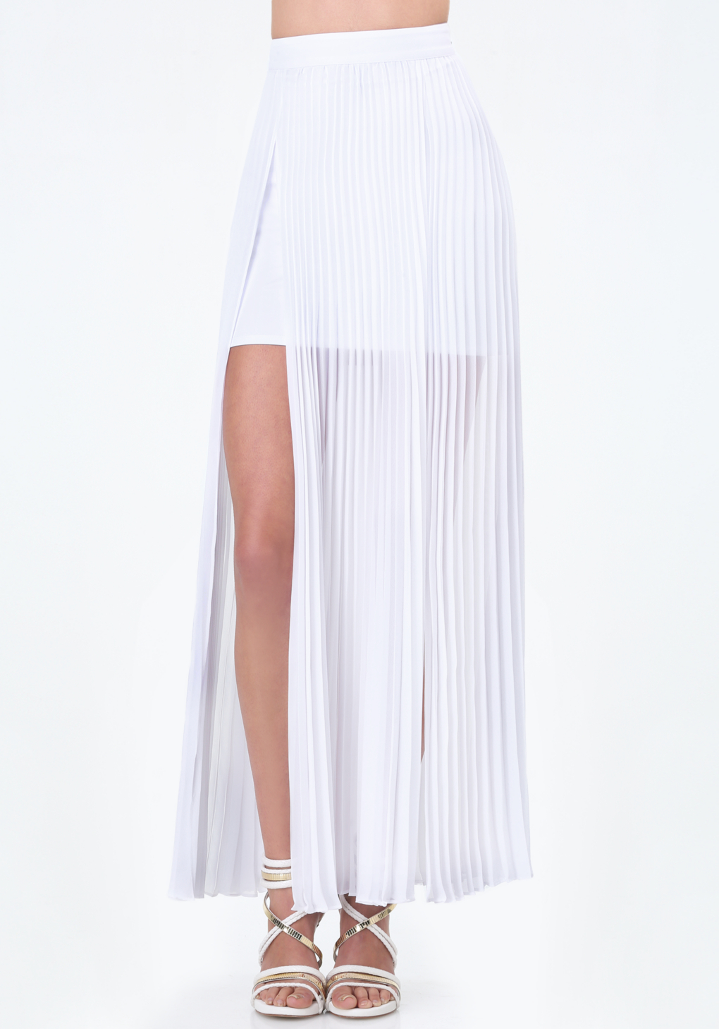 Bebe Pleated Slit Maxi Skirt in White | Lyst
