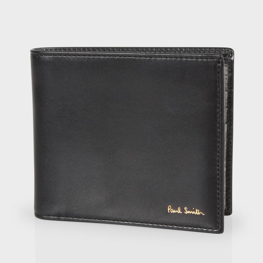 Lyst Paul Smith Men 39 S Black Leather Metallic Interior Billfold Wallet In Black For Men