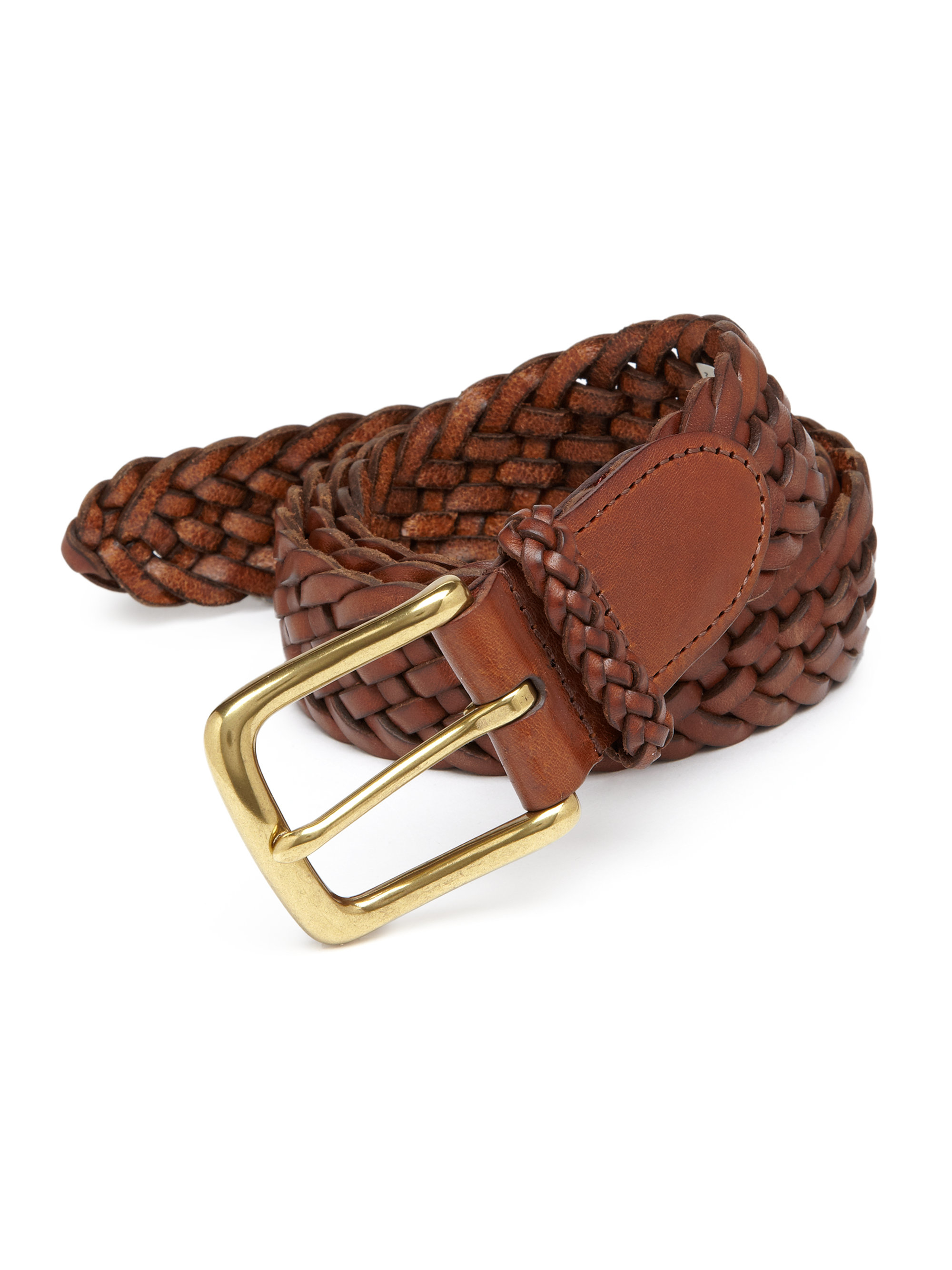polo ralph sportsman braided leather belt in brown