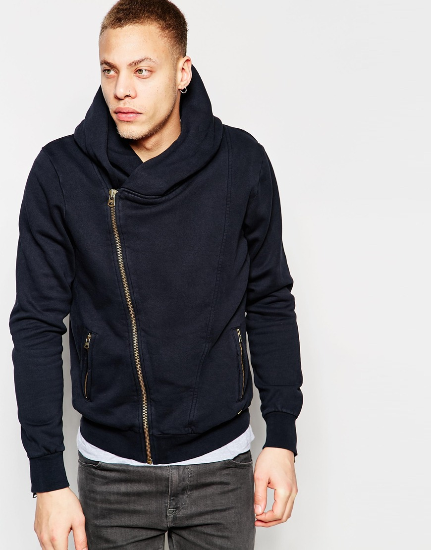 Scotch & soda Biker Hooded Zip Cardigan Sweatshirt in Black for ...