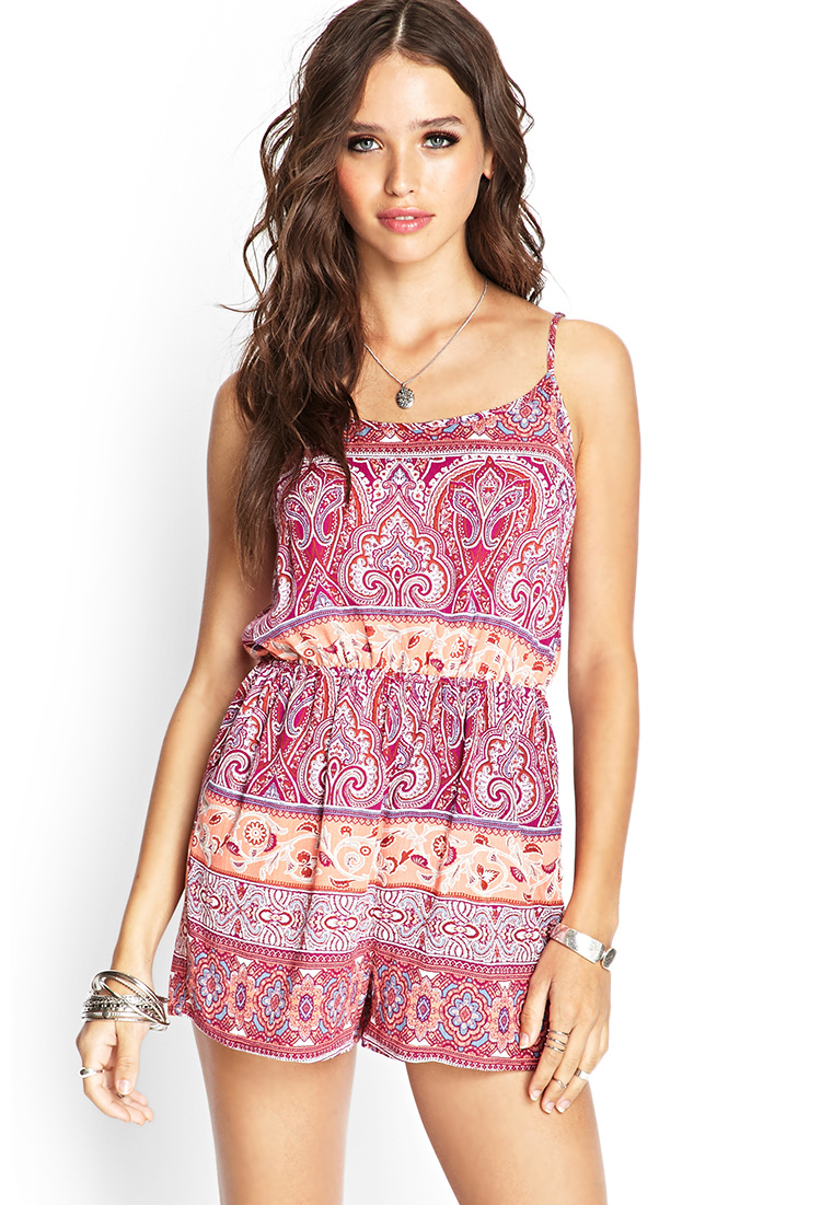 43664232621 Lyst - Forever 21 Paisley Cami Romper in Pink