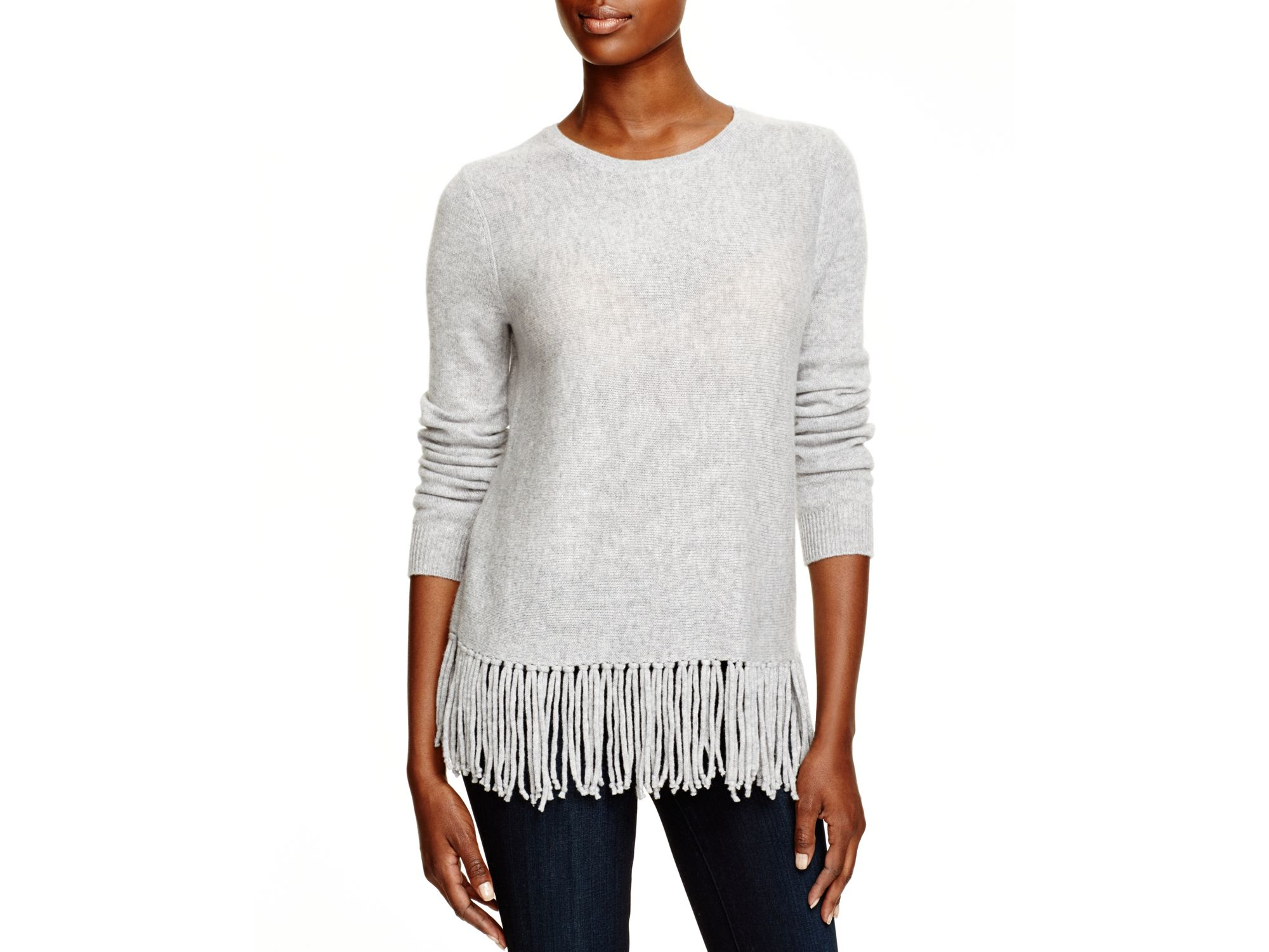Aqua Cashmere Cashmere Fringe Trim Sweater in Gray | Lyst
