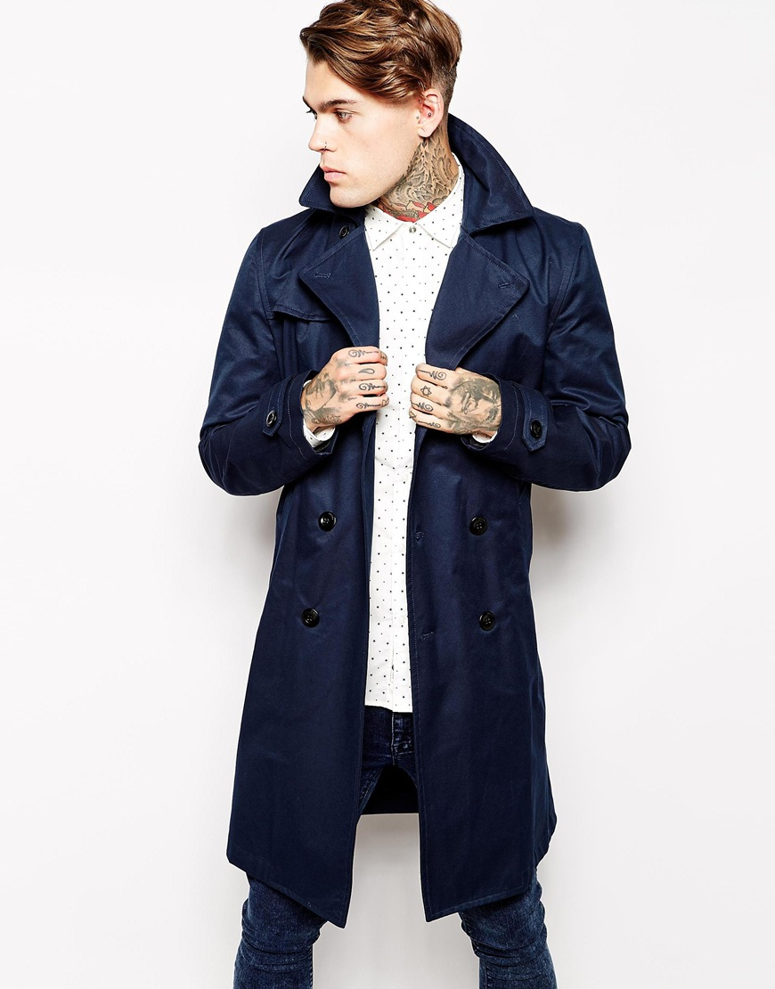 Diesel Trench Coat Nanda Belted Double Breasted in Blue for Men | Lyst