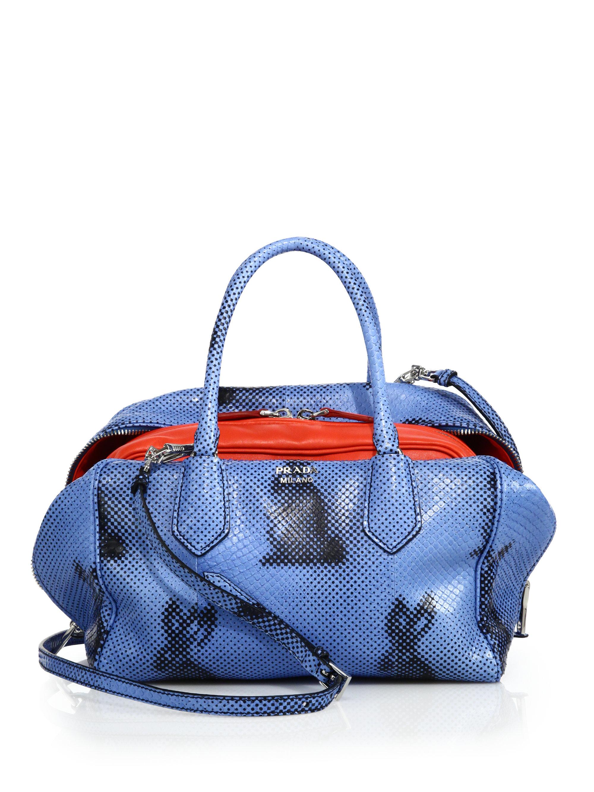 7965eb83f1e107 discount code for lyst prada rabbit print python inside bag in blue b77a9  f6f76