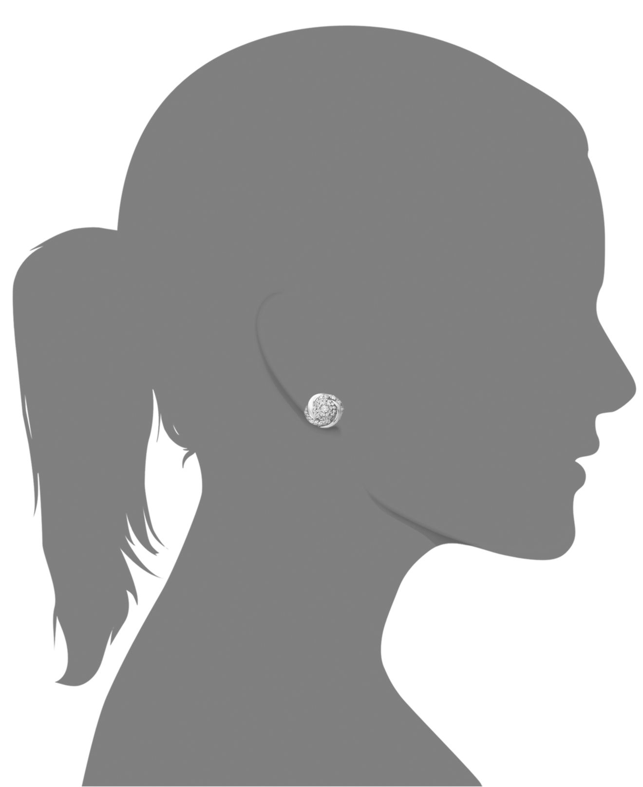 Wrapped in love ™ Pavé Diamond Stud Earrings In Sterling Silver 1