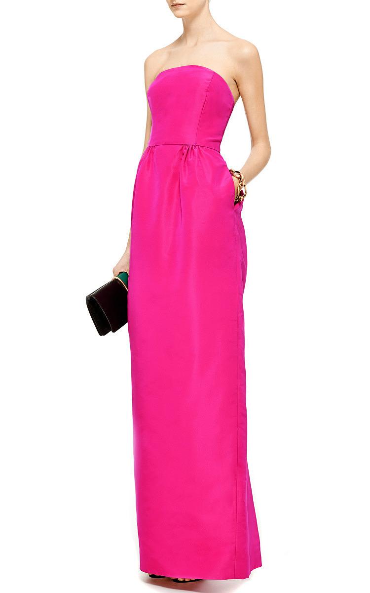 73f1e758ab40a Oscar de la Renta Silk-Faille Column Gown in Pink - Lyst