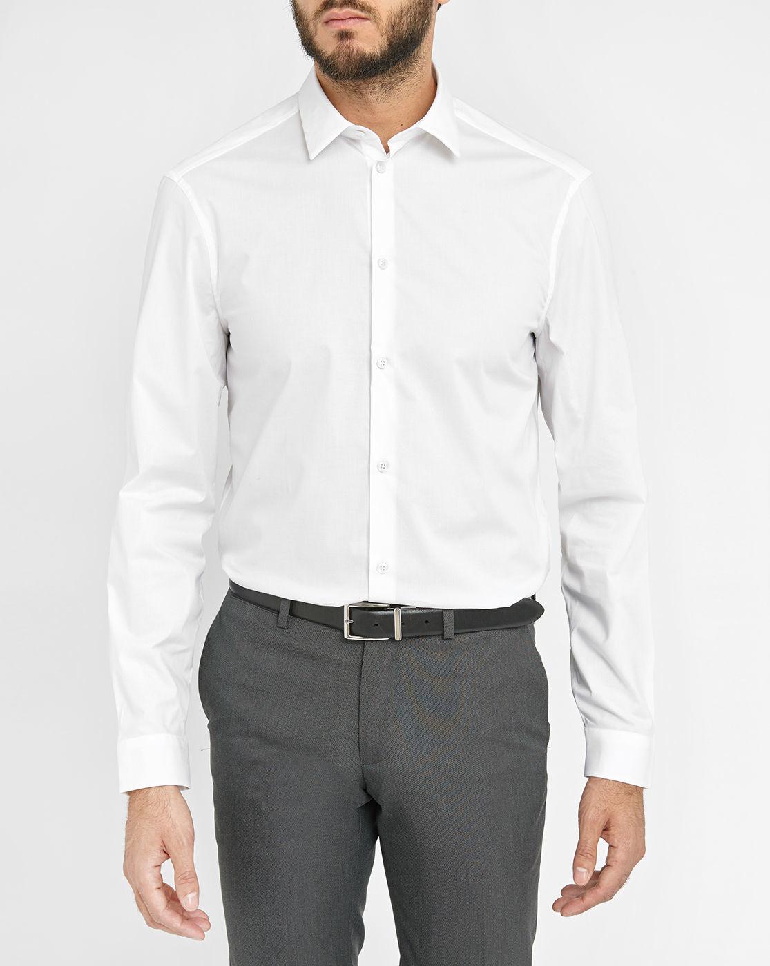 Calvin klein white stretch poplin slim fit shirt in white for Calvin klein slim fit stretch shirt