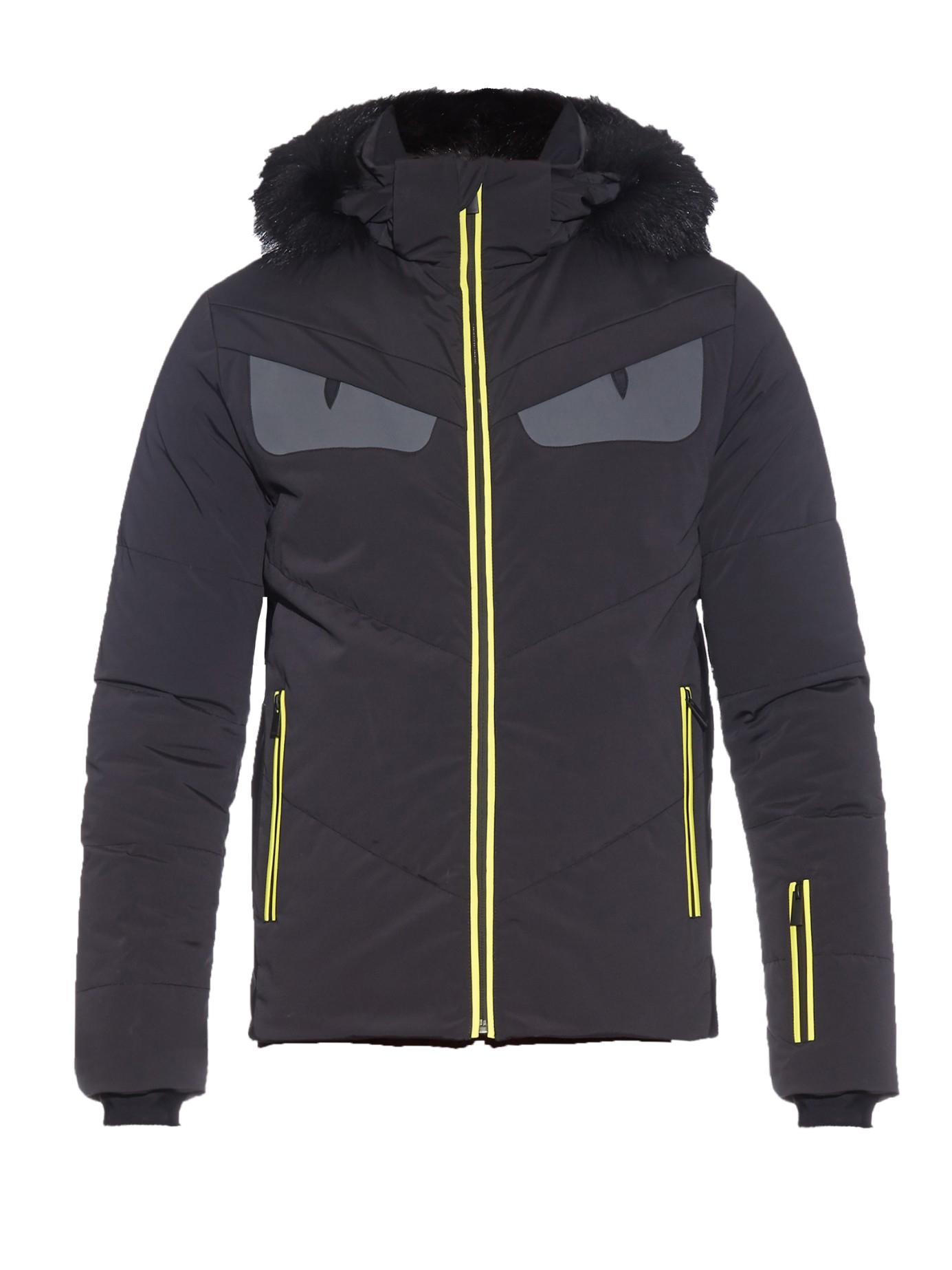 Fendi Bag Bugs Fur Trimmed Technical Ski Jacket In Black