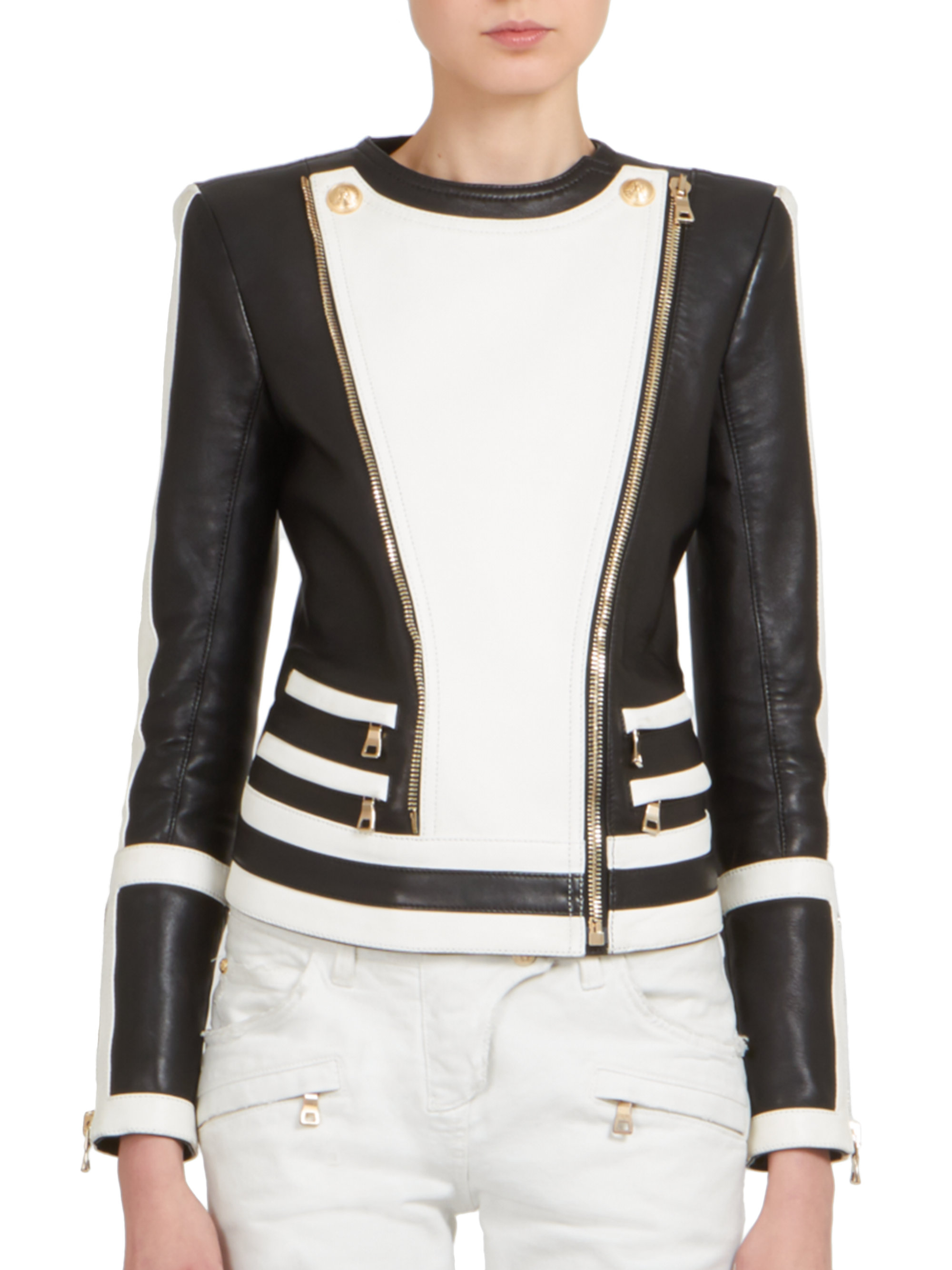 Lyst - Balmain Bicolor Leather Moto Jacket in Black