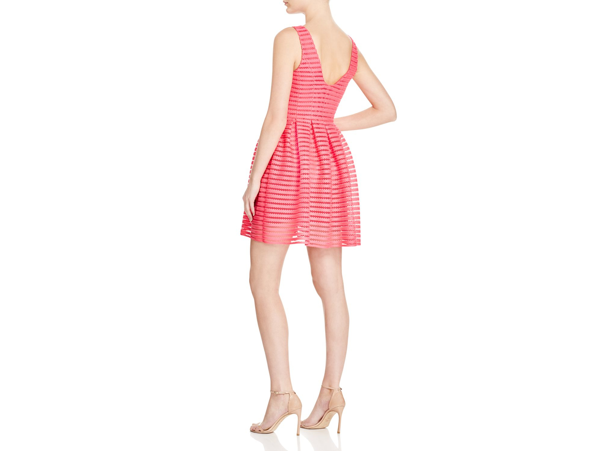 1b23be76ee2 Lyst - Aqua Stripe Mesh Neoprene Dress in Purple