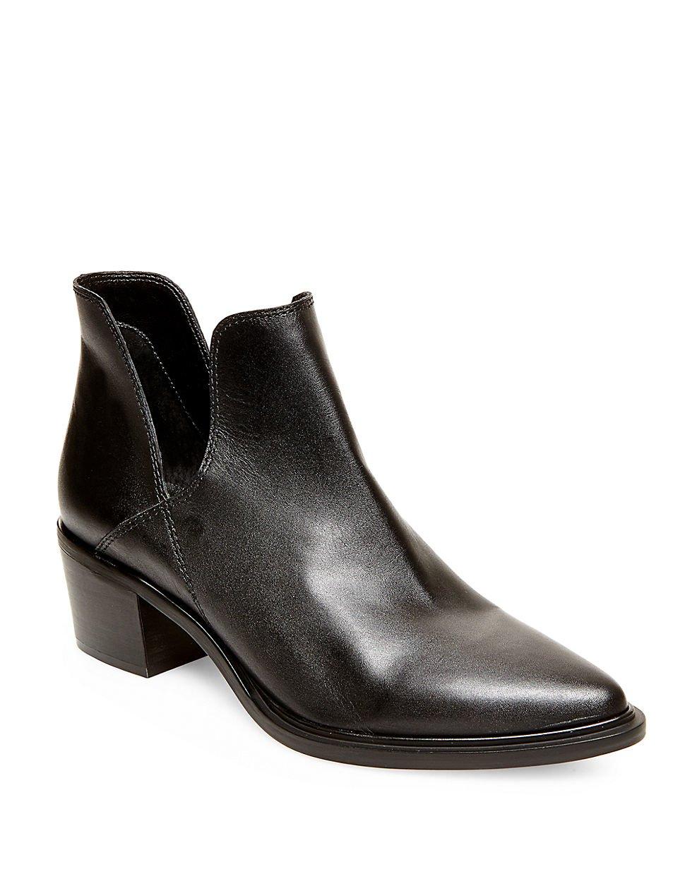 steven by steve madden dextir leather ankle boots in black. Black Bedroom Furniture Sets. Home Design Ideas