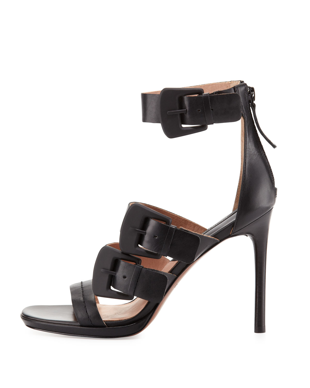 Rachel Zoe Macey Triplebuckle Strap Sandal Black In Black