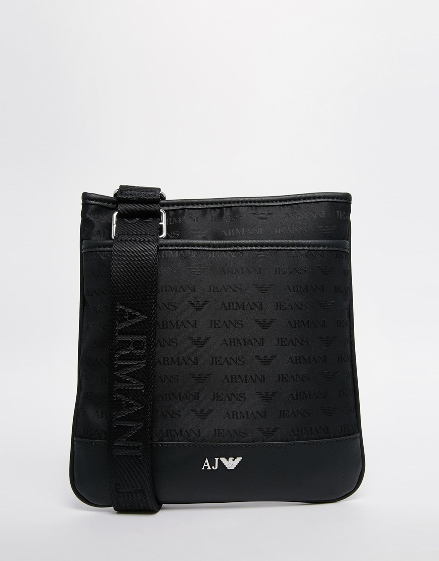 Lyst - Armani Jeans Nylon Flight Bag With All Over Logo Print in ... 52110c1ee6
