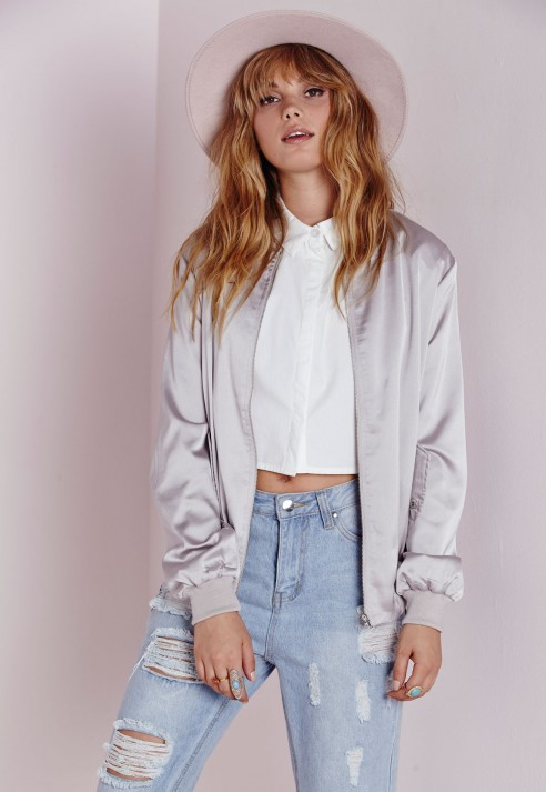 Missguided Satin Bomber Jacket Grey in Gray | Lyst