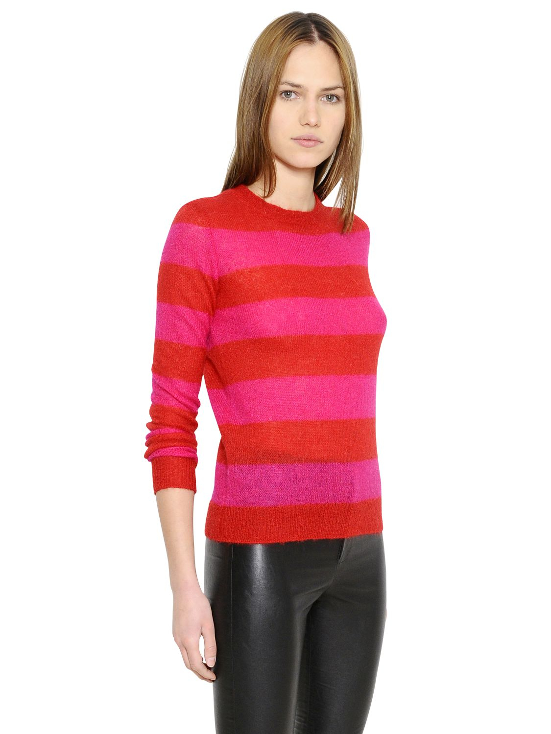 Étoile isabel marant Striped Mohair & Wool Sweater in Pink | Lyst