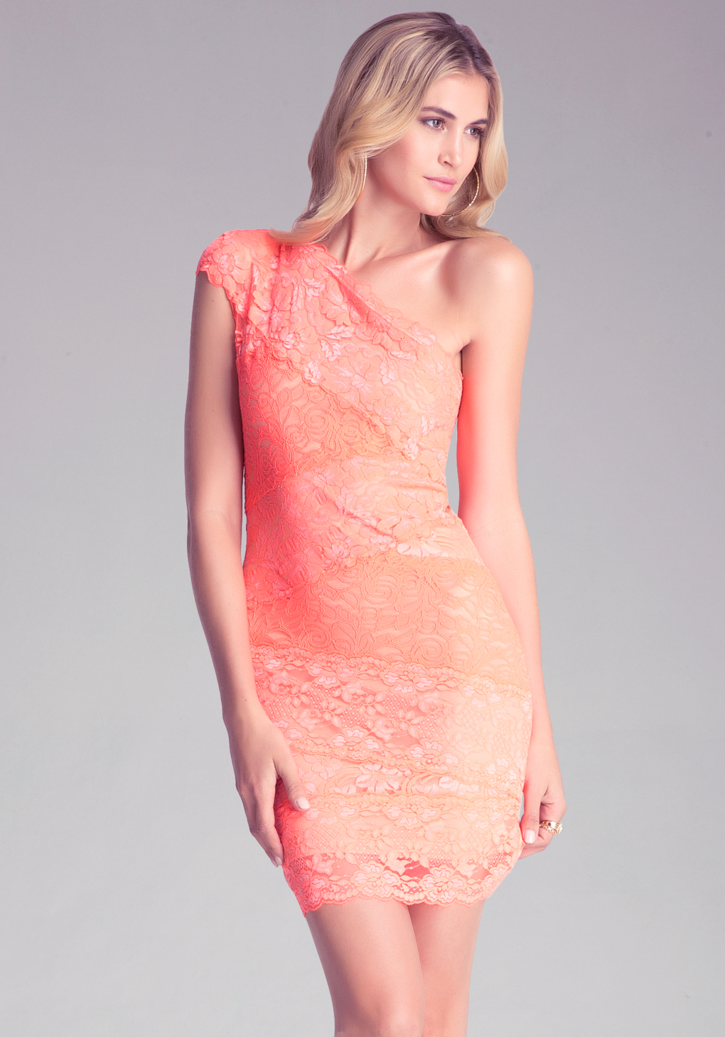 a98945df437 Bebe Lace One Shoulder Dress in Orange - Lyst