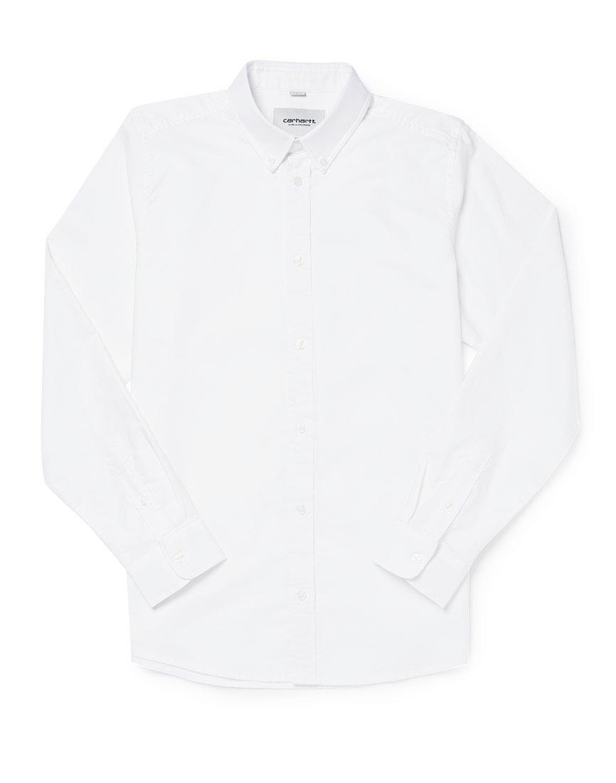 Carhartt wip long sleeve button down shirt white in white for Carhartt long sleeve t shirts white