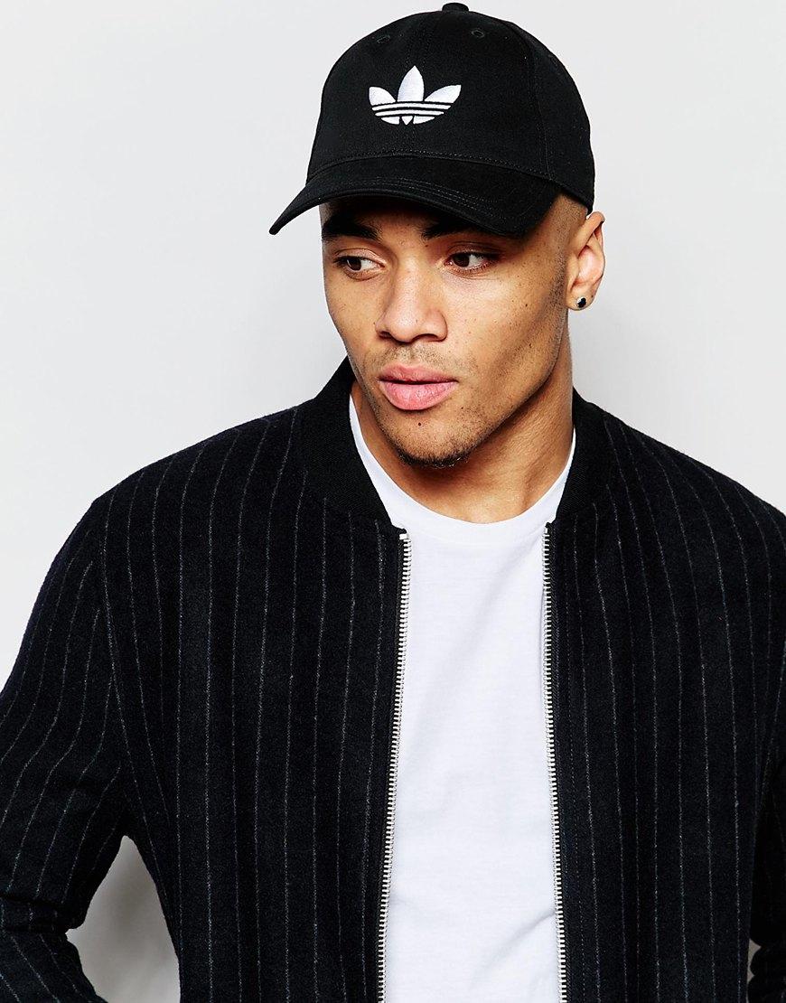 ... free shipping lyst adidas originals trefoil cap in black in black for  men 55513 35644 d724eb28e