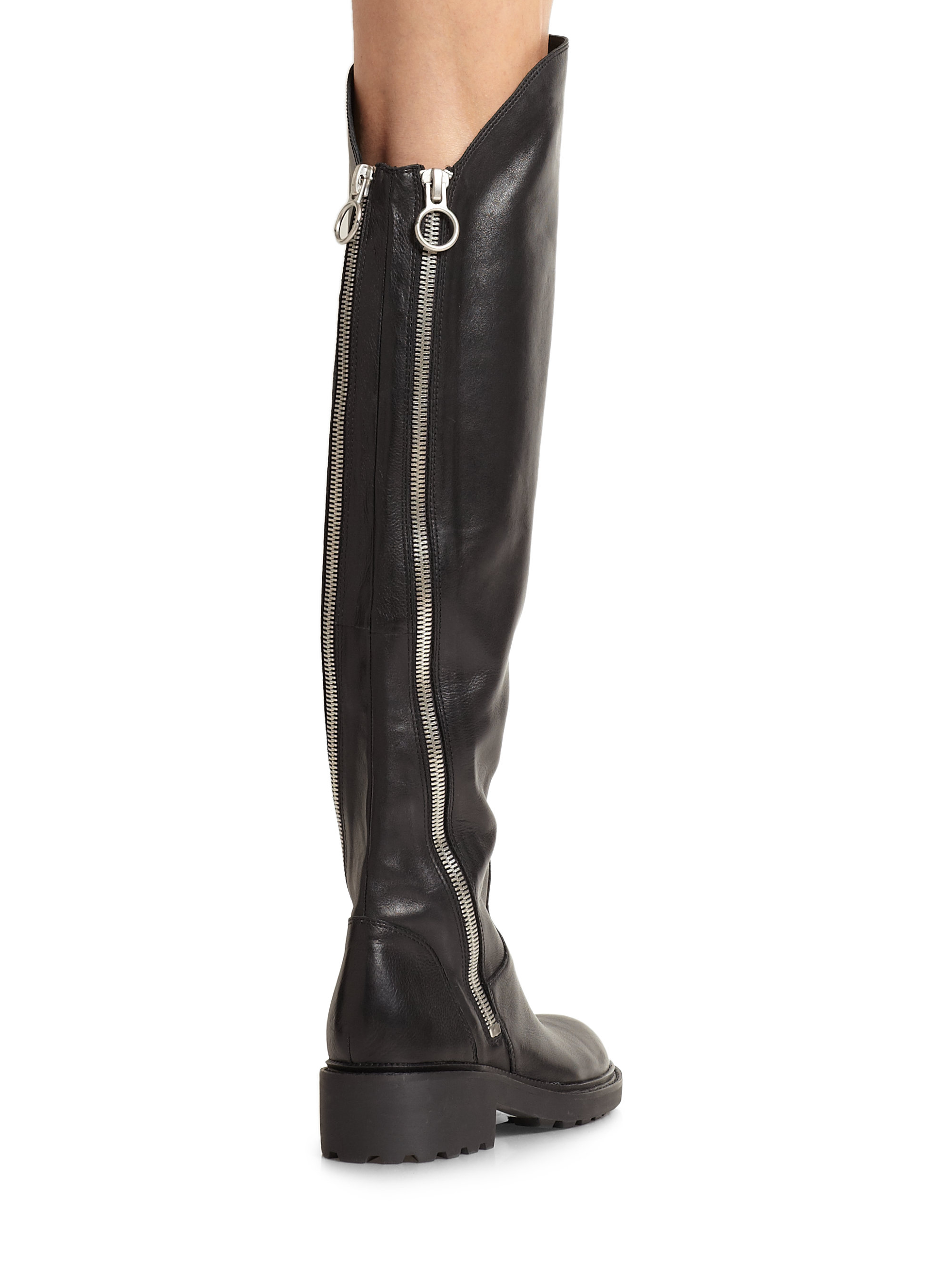 ash seven leather the knee zipper boots in black lyst