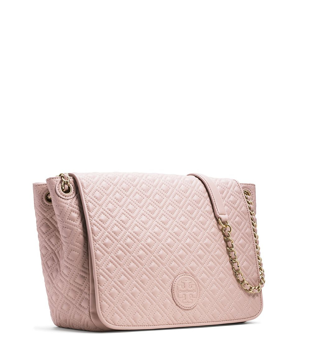 Tory Burch Marion Quilted Flap Shoulder Bag In Pink Lyst