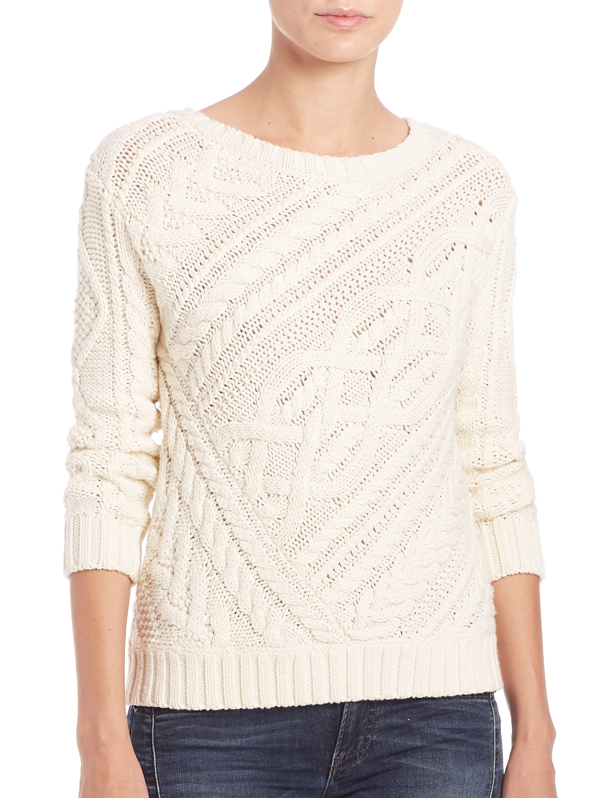Polo ralph lauren Cable-knit Sweater in Natural | Lyst